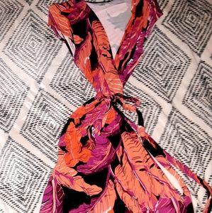 Old Navy Leaf Print Wrap Dress